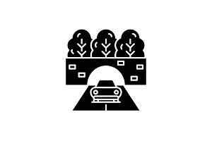 Travelling by car black icon, vector