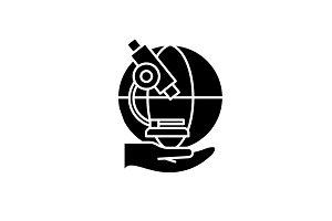 Laboratory research black icon