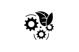 Eco technology black icon, vector