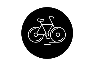 Cute bicycle black icon, vector sign