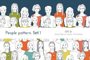 Seamless patterns of people 1. Women