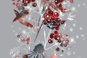 snow flower, berries, leaves | JPEG