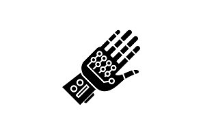 Cyber ??gloves black icon, vector