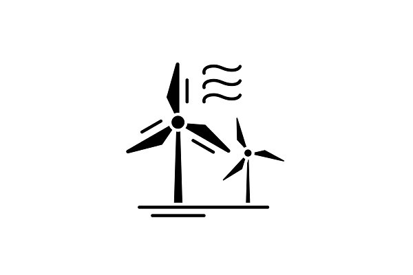 Wind power black icon, vector sign