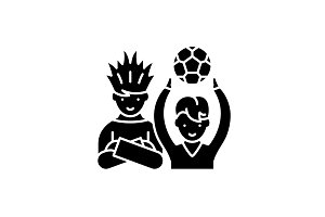 Football fans black icon, vector