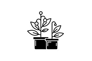 Potted house plants black icon
