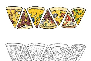 Pizza hand drawn