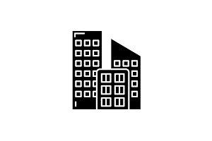 Office buildings black icon, vector
