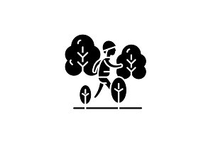 Hiking black icon, vector sign on