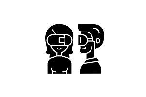 Virtual glasses black icon, vector