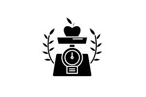 Healthy food black icon, vector sign