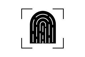 Fingerprint scanning glyph icon