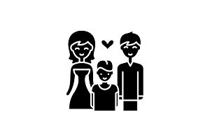 Family with child black icon, vector