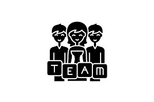 Business team black icon, vector