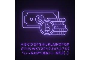 Bitcoin coins and dollar neon icon