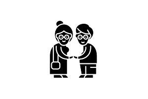 Pensioners black icon, vector sign