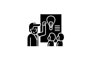 Idea presentation black icon, vector