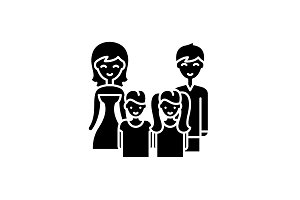 Big family black icon, vector sign