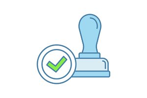 Stamp approved color icon