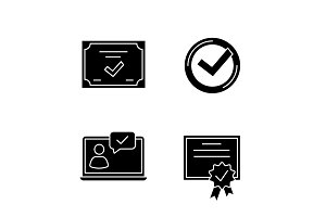 Approve glyph icons set
