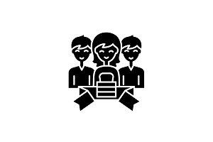 Membership black icon, vector sign