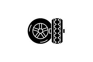 Tires black icon, vector sign on