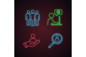 Business management neon light icons