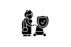 Pension fund black icon, vector sign
