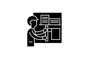 Architect black icon, vector sign on