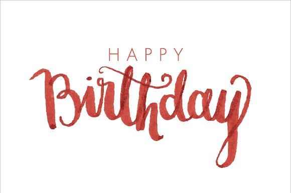 Birthday modern calligraphy vector illustrations