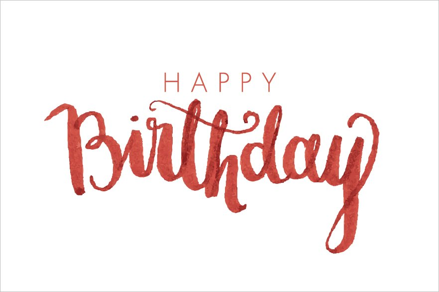 Birthday modern calligraphy vector illustrations