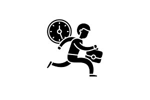 Time management black icon, vector