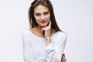 Attractive woman with finger