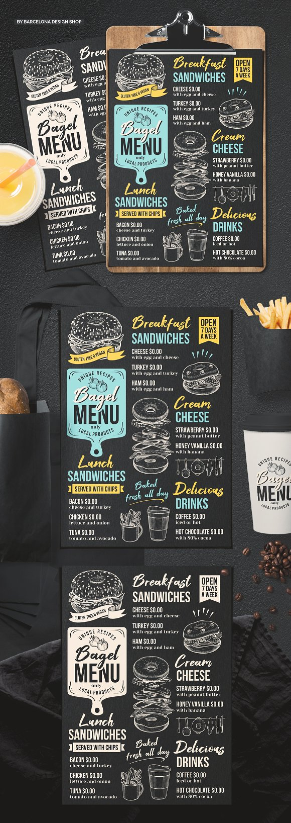 bagel sandwich menu template brochure templates creative market