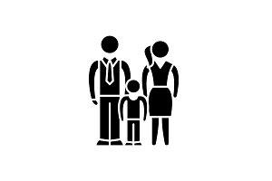 European family black icon, vector