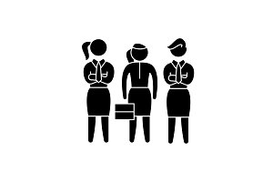 Female employees black icon, vector