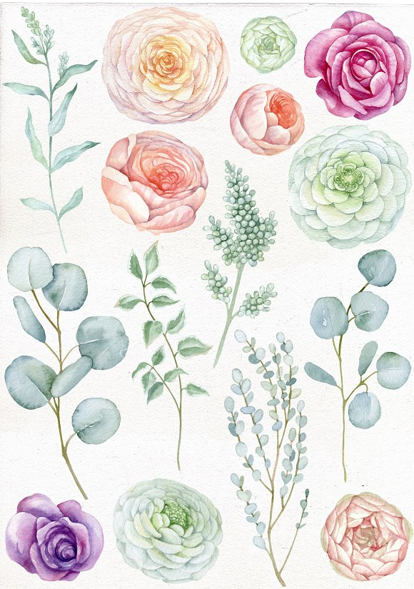 Watercolor Romantic Flowers in Illustrations - product preview 1