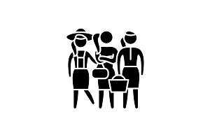 Female roles black icon, vector sign