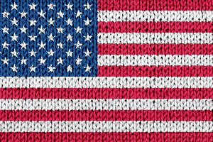 USA flag on knitted background