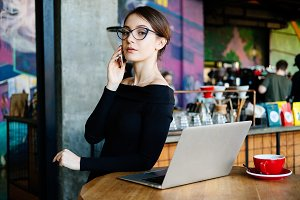 Freelancer woman with laptop