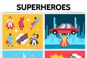 Flat superheroes square concept