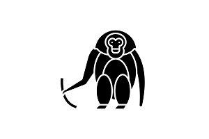Monkey black icon, vector sign on