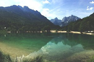 Vintage lake panorama in mountains