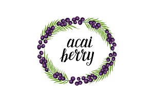 Cute frame with acai berries, hand