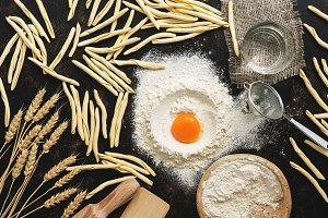 Ingredients for cooking pasta. Raw