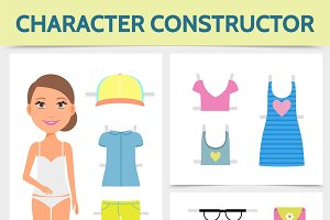 Flat woman character constructor