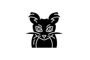 Monster mouse black icon, vector
