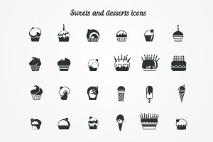 Set of icons. Ice-cream and desserts