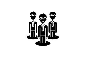 Remote office team black icon