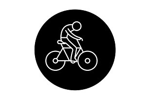 Bicycle race black icon, vector sign